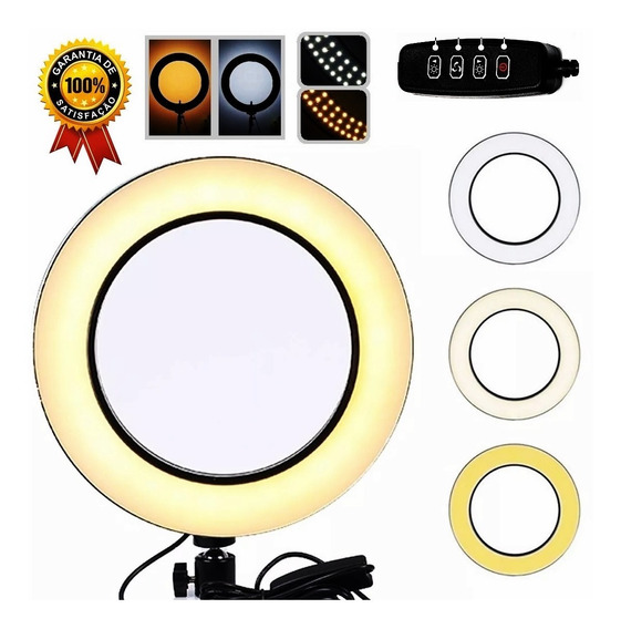 Iluminador Ring Led Light Lucacell 5v10w Control Temp. Cores