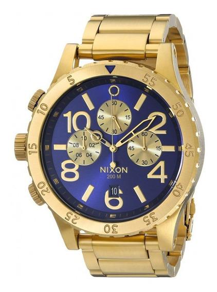 Relógio G0432 Nixon Ouro 18k Mostrador Azul C/ Caixa