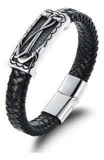 Pulseira Masculina Bracelete De Couro Âncora Aço Inox 18,5cm