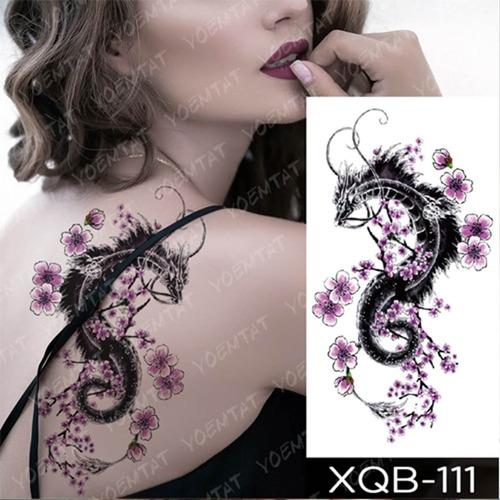 Tatuaje Temporal Dragón Grande Tatoo Parece Real! Xqb-111