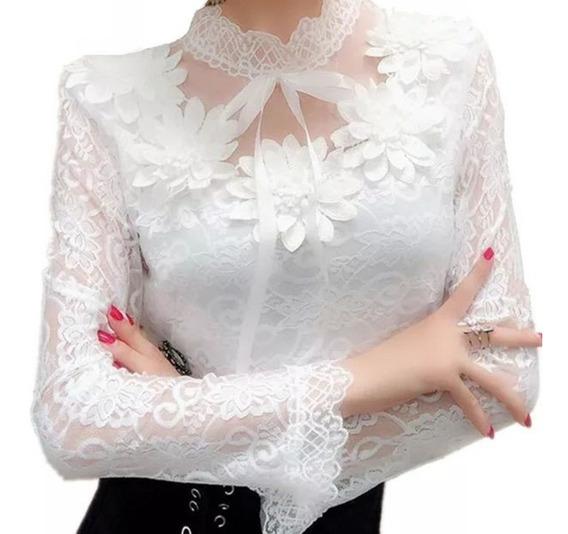 Blusa Camisa Social Com Renda E Tule Moda Feminina Importada