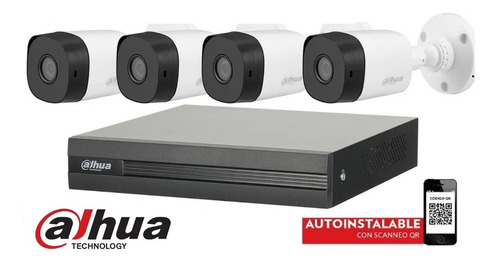 Imagen 1 de 10 de Kit Seguridad Dahua Dvr 4 Camaras Full Hd 1080p Exterior