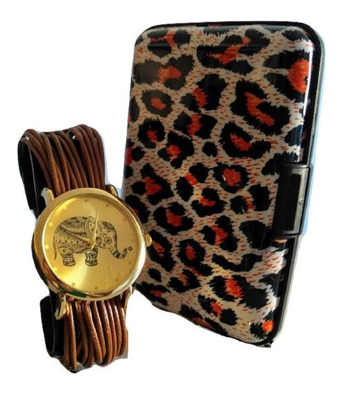 Relógio Feminino Elefante Indian Luxo Pulseira Couro +carteira De Mão Porta Cartões Social Lindo Barato Promoção+brinde