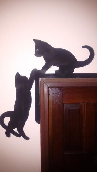 Silhueta De Gato Decorativo Para Porta De Quarto