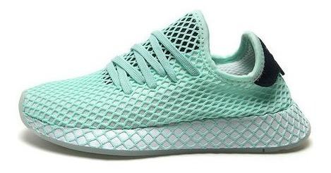 Tenis Running Verde-blanco-azul adidas Originals Deerupt Run