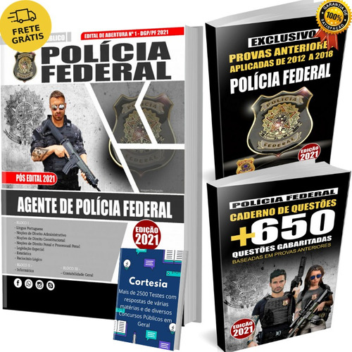 Kit Apostila Pf Agente De Polícia Federal + Testes + Provas