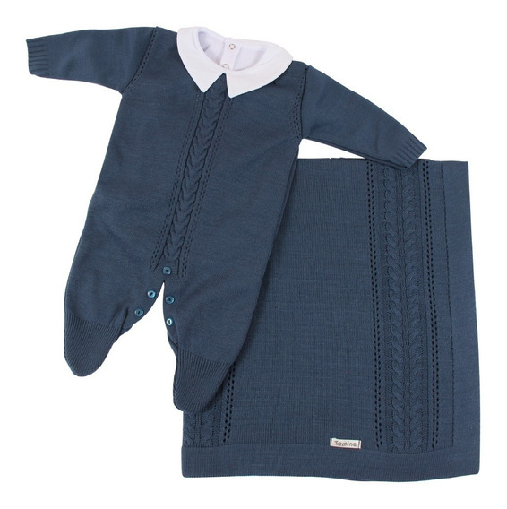 Saída De Maternidade Menino Jeans Tricô Luxo 3 Peças