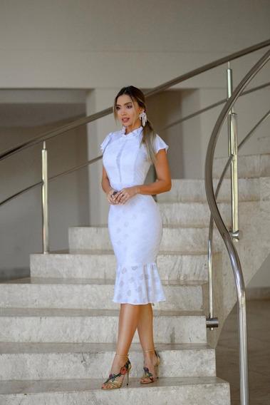 Vestido Midi Noivado Feminino Casamento Civil Previa Noivas (frete Gratis)