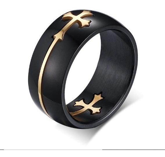 Anel Cruz Dourada Crucifixo Aliança Luxo Templários Vikings