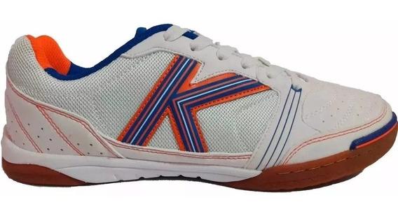 Tenis Futsal Kelme Millenium Branco/laranja/azul - Original