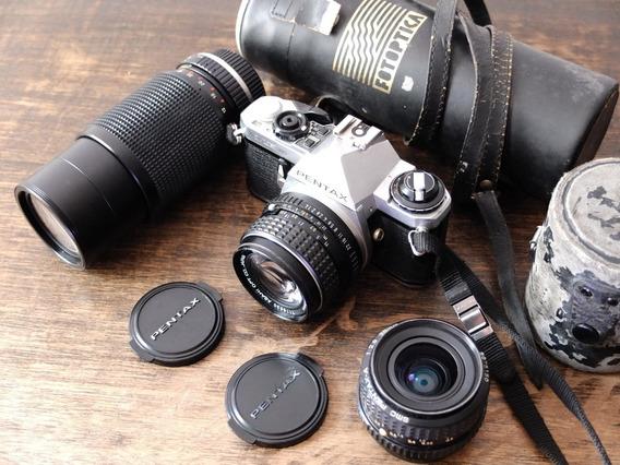 Pentax Me Super - Lentes 50mm, 28mm E 80-200mm