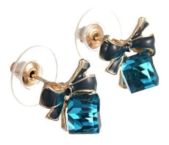 Aretes De Moño Y Cristal Azul, Amor, Regalo,navidad