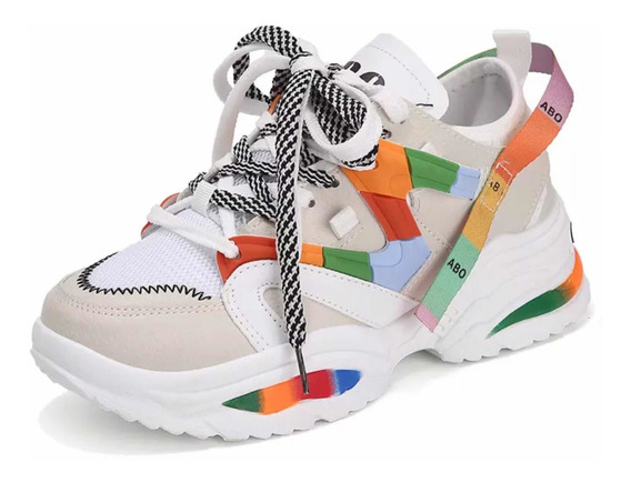 Tênis Chunky Dad Sneaker Sola Alta Colors Pro Pré - Venda