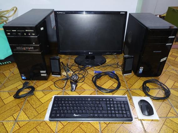Lote 2 Cpu Megaware E Monitor Lg 22 Polegadas Ler Descrição