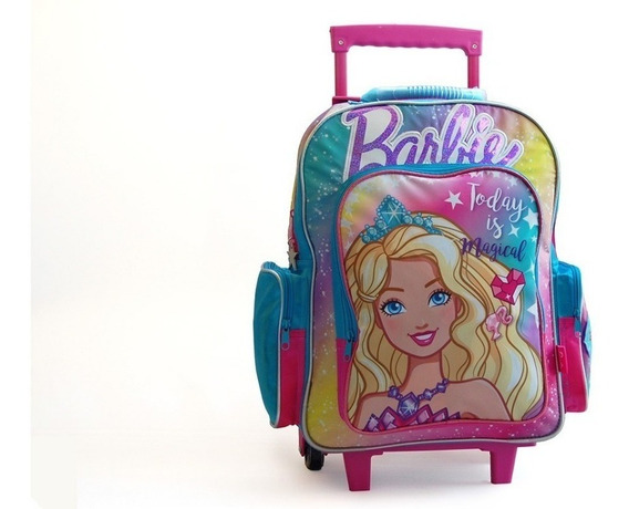 Mochila Barbie Con Luz Con Carro 18 Pulgadas
