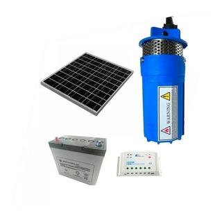 Kit Bomba Sumergible Solar + Bateria Solar De Ciclo Profundo 45 Ah + Panel De 150 Watts + Regulador 20a 1500 Litros/día