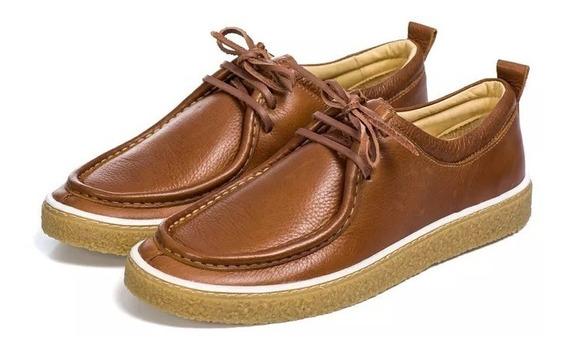 Sapato Casual Cacareco Costura Frontal Solado Bege Couro