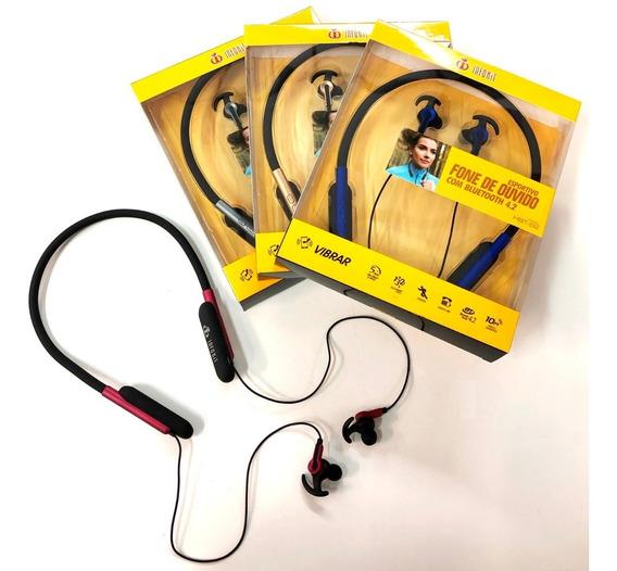 Kit Com 3 Fone Bluetooth Esportivo Pescoço Musica E Ligação