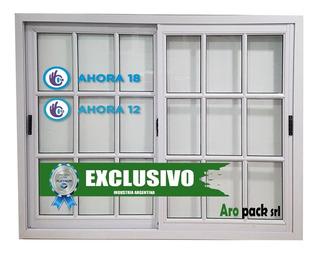 Ventana Aluminio Blanco 150x110 Vidrio Repartido Ahora 12/18