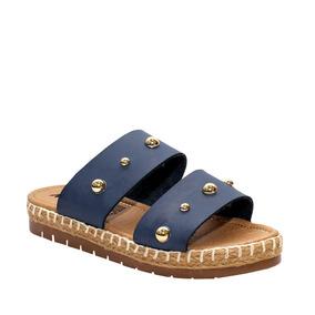 Sandalias Dama Con Perlas Color Azul Y Negro Mona Shoes 112