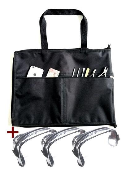 Pasta Bolsa Organizadora Porta Esmaltes Até 120 Frascos Manicure Maquiadora Com Bolsos Frontais + 3 Estojo Transparente
