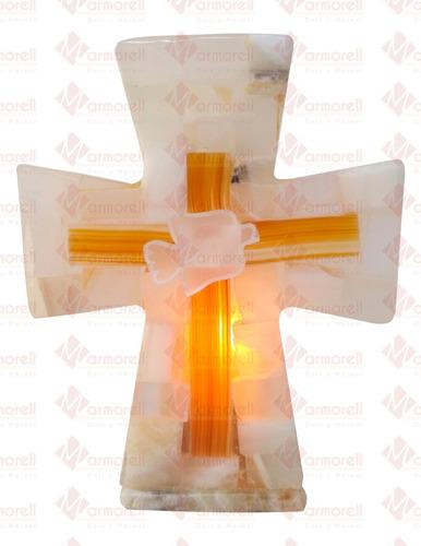 Imagen 1 de 4 de Nuevo! Lampara De Piedra Onix Cruz Con Espiritu Santo 17 Cm