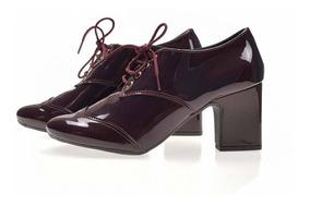 Sapato Feminino Verniz Brilliance Saltinho C Cadarço 395 407