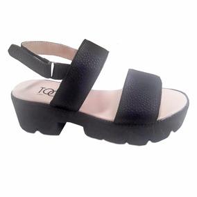 a826f214 Sandalias Negras Con Poca Plataforma Y Hebilla - Zapatos en Mercado ...
