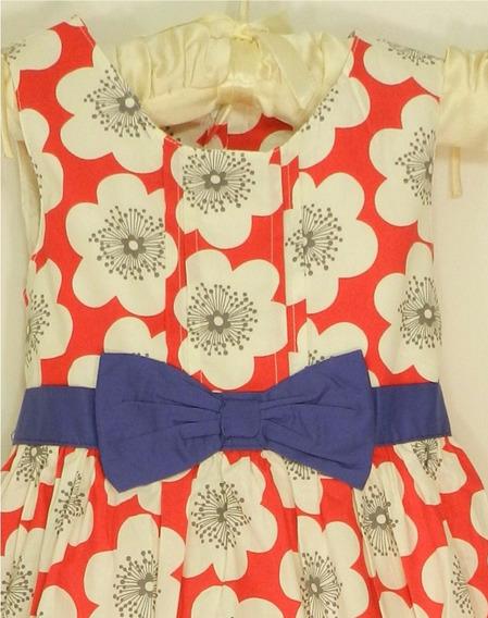 Vestido Niña Flores Rojo Talla 3 Y 4 Años
