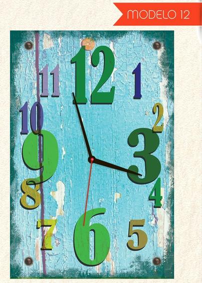 Quadro Relógio De Parede Estilo Rústico Modelo Madeira 45x30