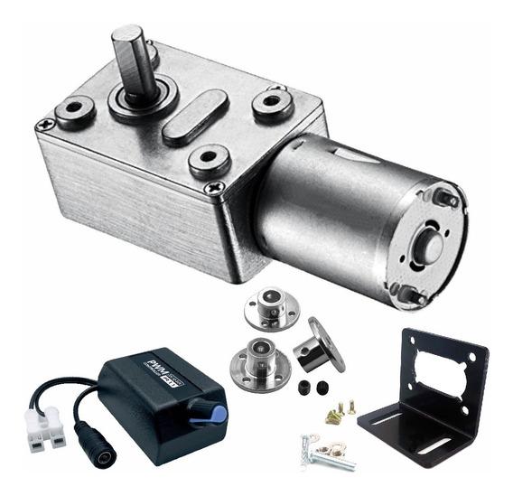 Motor Mini 12v Dc Com Redução + Controlador + Suporte Fix