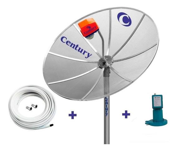 Antena Parabolica Century 1,7m Lnbf Mono Sd Cabo Conectores