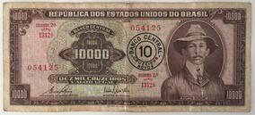Nota 10000 Cruzeiros Com Carimbo 10 Cruzeiros Novos