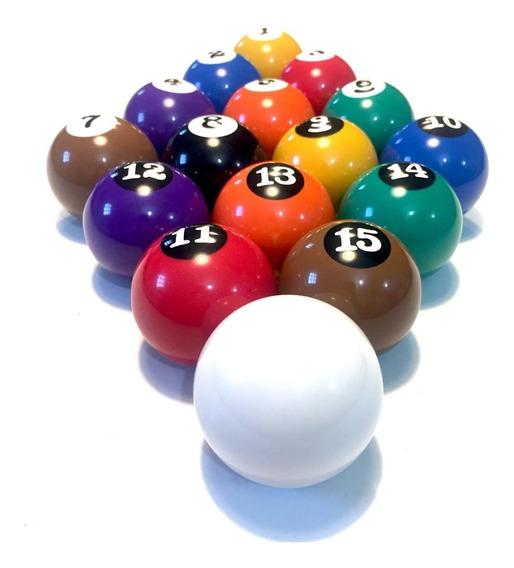 Jogo De Bolas Numeradas 50mm C/ Branca Sinuca Bilhar Snooker