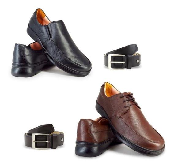 Kit 02 Pares Sapato Conforto + Cintos Em Couro Enviamix