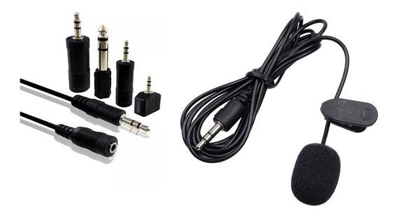 Kit Microfone Lapela Cabo Extensor P2 J2 Adaptador P10 1,8m