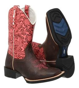 Oferta Bota Feminina Texana Couro Rodeio Confort