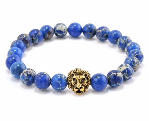 Pulsera De Piedra Azul Con León Dorado Perfecto Regalo