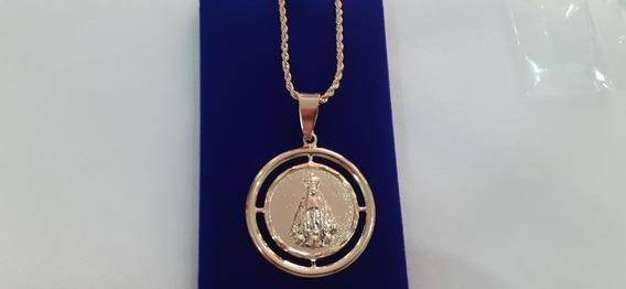 Colar Banhado 45cm Com Medalhão De Aparecida Semijoia
