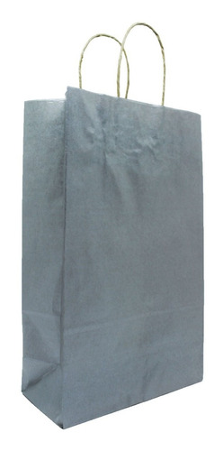 Kit 50 Sacolas De Papel Com Alça - Ecológica - 22x18x9 Cm