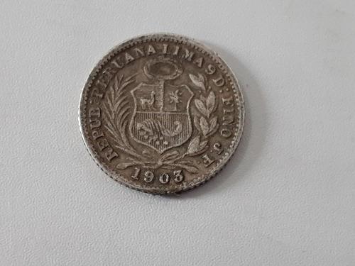 Moneda Peru 1/2  Dinero 1903 Plata 0.900 ( Ch51