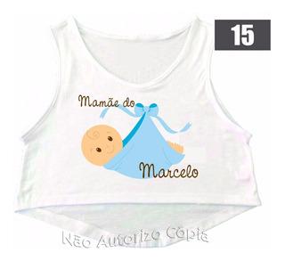 2 Camisas Personalizada Cropped Gestante Chá De Bebê Menino