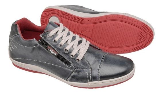 Sapatenis Dockside Sapato Casual Couro Tchwm Shoes Com Ziper