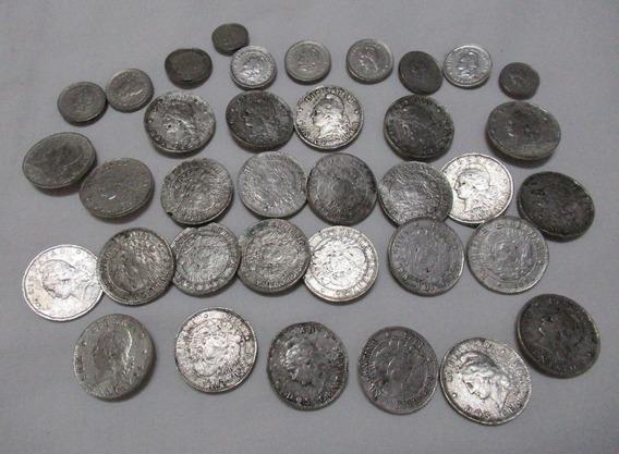 Lote 36 Antiguas Monedas Plateadas Botones Para Rastra