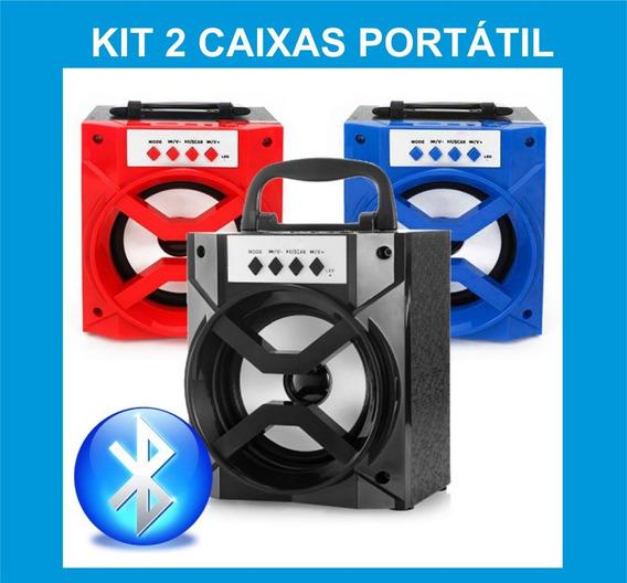 Kit 2 Caixinha De Som Atacado Bluetooth Mp3 Caixa Portátil