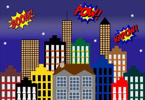Painel Lona Fosca Cidade Super Herois