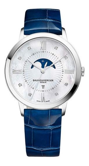 Reloj Baume & Mercier Classima Piel Zafiro 10226 Fase Lunar