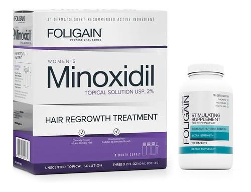 Minoxidil 2% Dama 3 Meses + Foligain Tabs 120 Caps