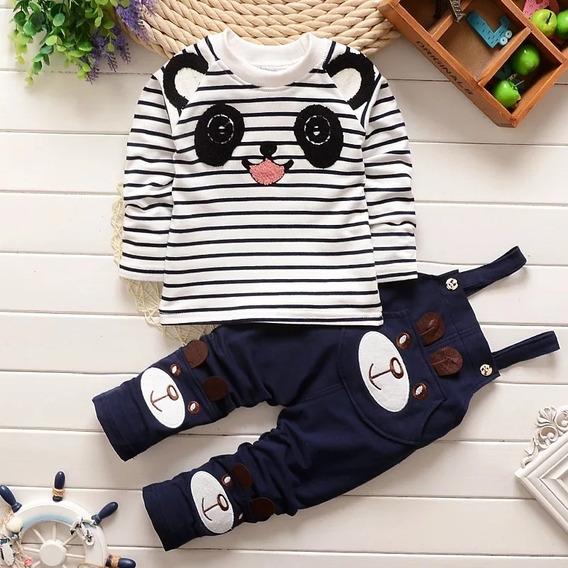 Conjunto Macacão Jardineira E Camiseta Manga Longa Panda
