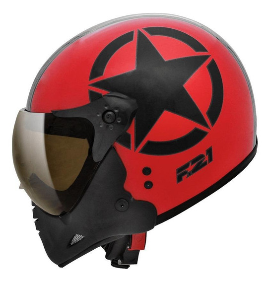 Capacete para moto Peels F-21 Army vermelho/pretoM